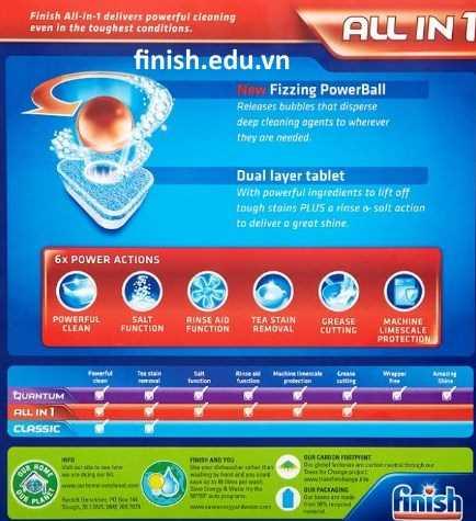 viên rửa bát finish all in 1 gồm tất cả các chức năng cho máy rửa bát